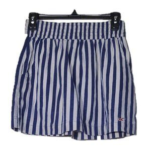 HOLLISTER Blue and White Stripe Lined Mini Skirt